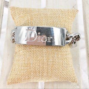 """Dior Gormette Duo Lip Gloss Silver ID Bracelet 7"""""""